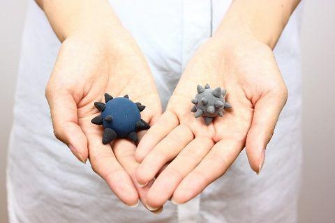 手のひらの上に乗せて表現している菌のイメージ
