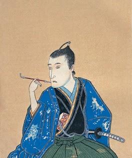 はまきをふかしている江戸時代風の男性の絵