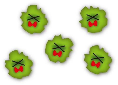 ダメージを受けている五つのバイ菌
