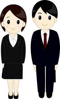 リクルートスーツを来た新入社員男女のイラスト