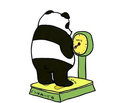 体重計に載っているパンダのイラスト