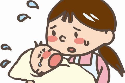 赤ちゃんをあやしているお母さんのイラスト